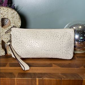 Coach Wristlet Off White Leather